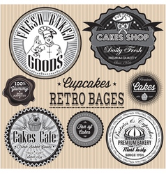 Set of retro badges for cakes vector