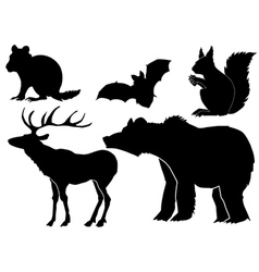 set of silhouettes of forest animals vector image