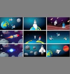 set universe space scenes vector image