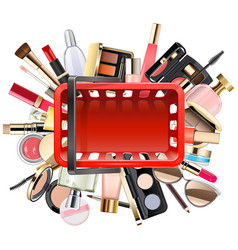 shopping concept with cosmetics vector image