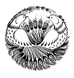 Silhouette circle birds of paradise vector