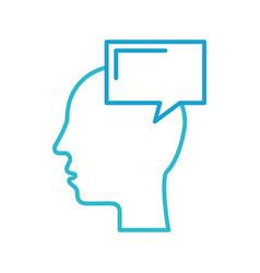 silhouette head human speech bubble communication vector image