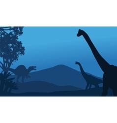 Silhouette of brachiosaurus and spinosaurus vector image