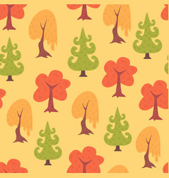 simple flat trees seamless pattern vector image