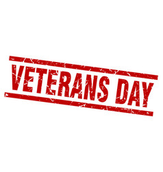 Square grunge red veterans day stamp vector