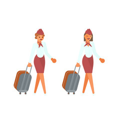 stewardesses characters with suitcases vector image