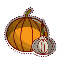Sticker pumpkin and onion vegetable icon vector