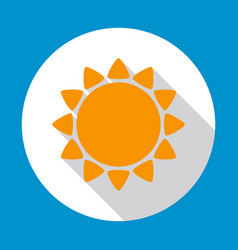 sun flat icon yellow color with long shadow on vector image