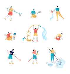 Swimming pool maintenance workers vector