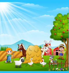The farmers keeping the animals on the farm vector