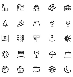 Tourism Line Icons 3 vector image