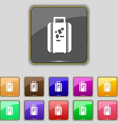 Travel luggage suitcase icon sign Set with eleven vector