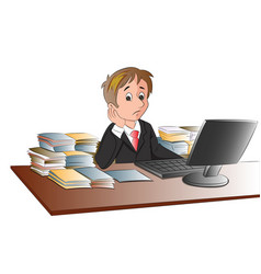 unhappy businessmans desk invaded with documents vector image
