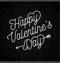 valentines day letter on black poster background vector image