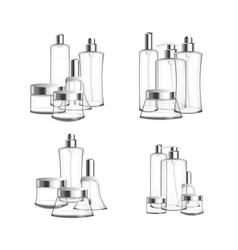 Various iconic set of assorted glass bottles vector