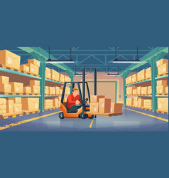 warehouse with worker forklift and boxes vector image