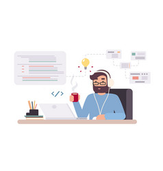 Web-developer works on laptop horizontal banner vector