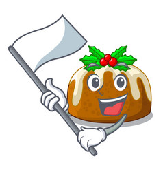 with flag christmas pudding isolated on the mascot vector image