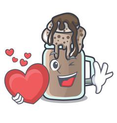 with heart milkshake mascot cartoon style vector image