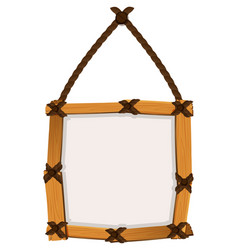 Wooden frame hanging on wall vector
