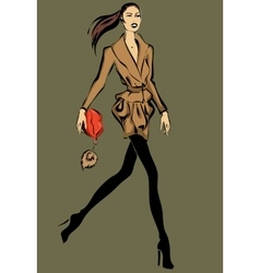 Fashion model in sketch style fall winter vector image