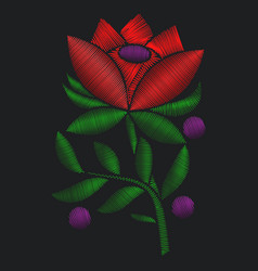 red flower roses embroidery vector image vector image