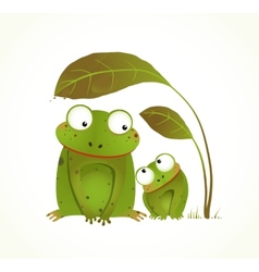 Two Frogs Mother and Baby Childish Animal Cartoon vector image vector image