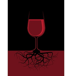 a glass of a red liquor with roots vector image