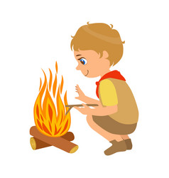 boy scout squatting near the bonfire a colorful vector image vector image