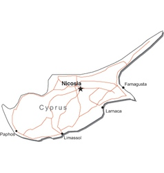 Cyprus Black White Map vector image vector image