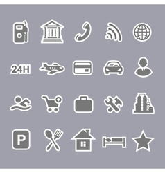 Icons for locations and services airport shopping vector image