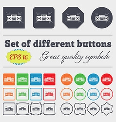 Radio cassette player icon sign Big set of vector image