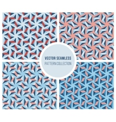 Set of Four Seamless Blue Pink Geometric vector image