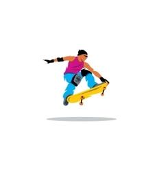 Skateboarder man jumping sign vector image