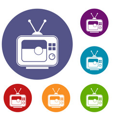 soccer match on tv icons set vector image vector image
