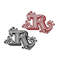 Vintage letter r vector