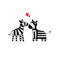 zebra couple in love sketch for your design vector image