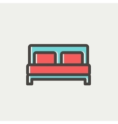 Double bed thin line icon vector image vector image