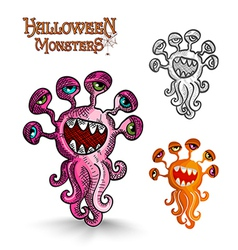 Halloween monsters weird eyes squid EPS10 file vector image