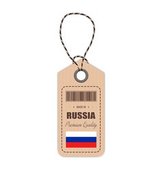 hang tag made in russia with flag icon isolated on vector image vector image