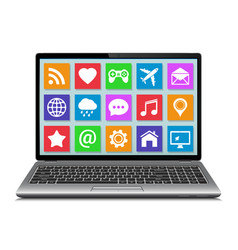 laptop with apps icons vector image