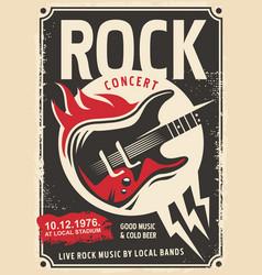 rock music retro poster design vector image vector image