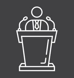 Speaker line icon business and tribune vector