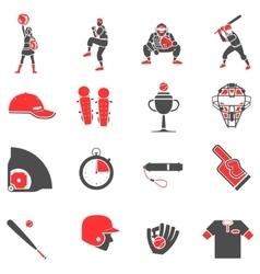 Baseball flat icons set vector image vector image