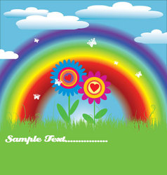 Bright spring with rainbow vector image vector image
