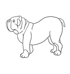 Cute cartoon contour bulldog isolated on white vector