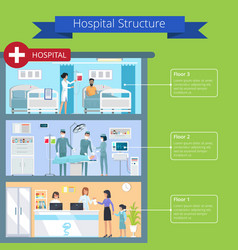 hospital structure and floors vector image vector image