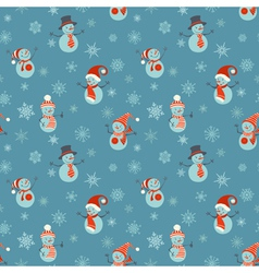 Seamless Christmas pattern with snowmen and vector image
