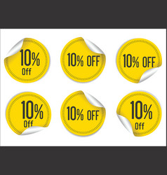 10 percent off yellow paper sale stickers vector