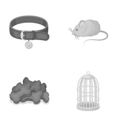 A collar a forage a toy a cage and other vector